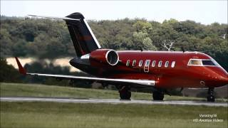 Lewis Hamiltons $30 million Private Bombardier Challenger 605 Jet Departing Luton Airport [1080p HD]
