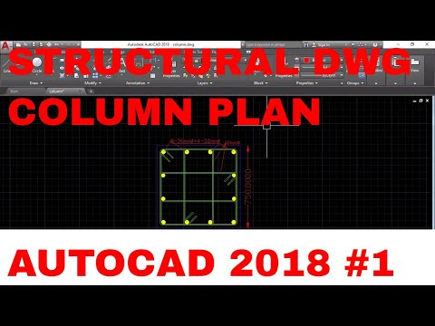 Rectangular column plan with long. bars and tie bars structural drawing in Autocad