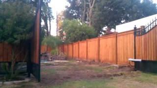 Pretty Metal-wood Swing Gate And Opener.