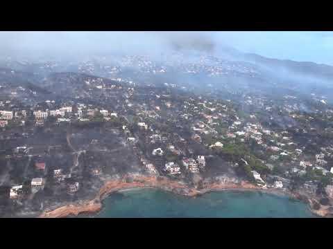 Σκηνικό αποκάλυψης: Συγκλονιστικά βίντεο από ελικόπτερο αποτυπώνουν την τραγωδία από τη φωτιά στο Μάτι