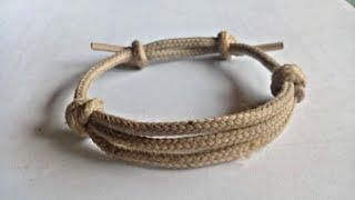 Cara membuat gelang dari tali sepatu dengan motif 3 garis begitu mudah