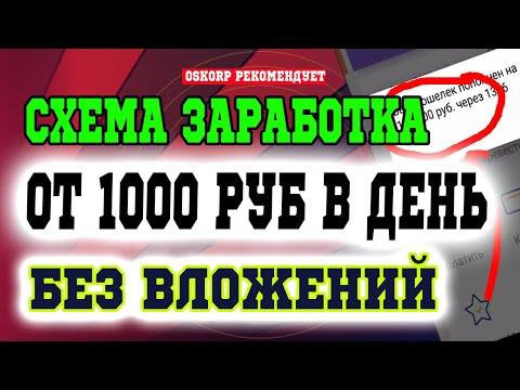 СХЕМА ЗАРАБОТКА ОТ 1000 РУБЛЕЙ В ДЕНЬ БЕЗ ВЛОЖЕНИЙ