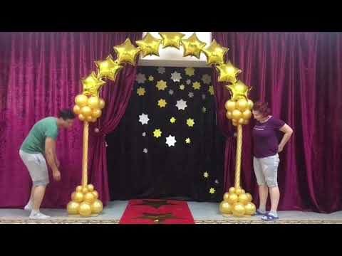 Оформление шарами детского сада в стиле Оскар. Арка и стойки из шаров.
