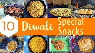 10 Easy Diwali Snacks Recipes | diwali dry snacks | indian diwali snacks | diwali recipes