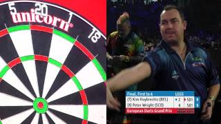 2015 European Darts Grand Prix Final | Kim Huybrechts v Peter Wright