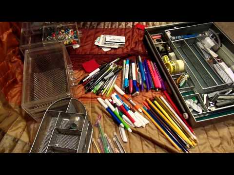 ASMR-Organizing the junk/stationery drawer-Silent-No Talking-Request