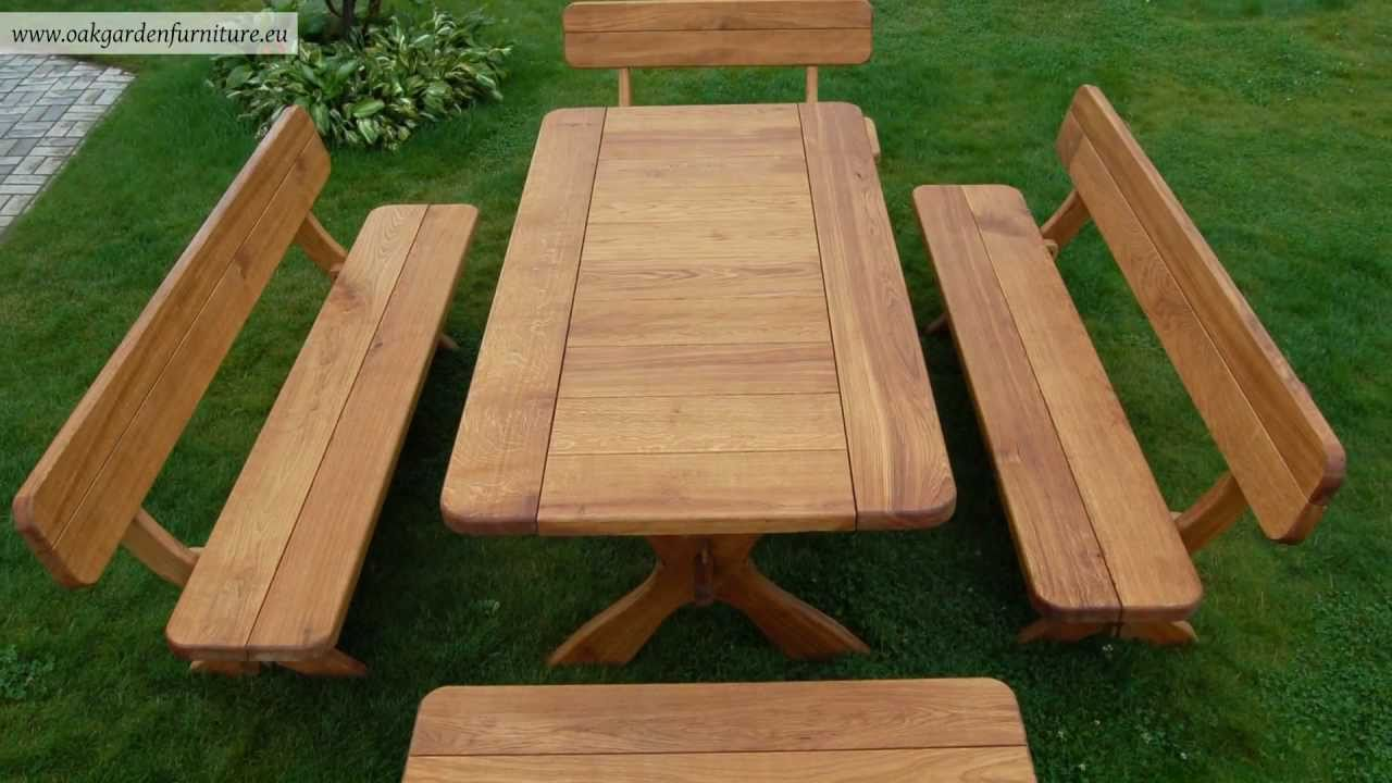 Wooden garden furniture set youtube for Wooden garden furniture