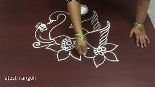 how to draw beautiful swan without dots || creative swan rangoli design