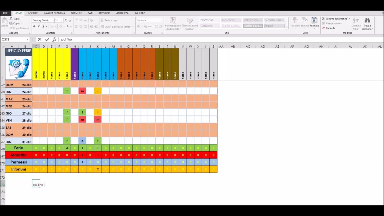 Calendario Presenze Excel.Calendario Presenze Ferie Ecc By Max