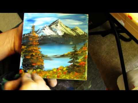 Awesome Fall Mountain Finger Painting on Tile #ArtsyCreativeVibe