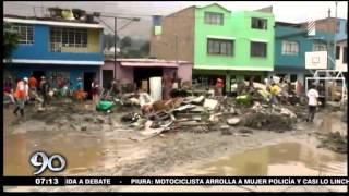 Chosica: Instantes en que muro de contención colapsa