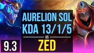 AURELION SOL vs ZED (MID) | KDA 13/1/5, Legendary | EUW Diamond | v9.3