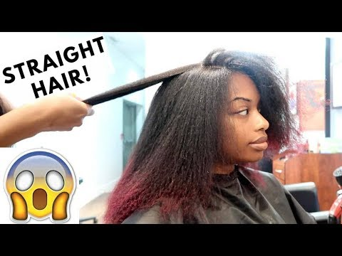 STRAIGHTENING MY NATURAL HAIR FOR THE FIRST TIME | HAIR SALON EXPERIENCE | JOURNEYTOWAISTLENGTH