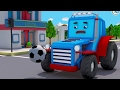 Blue Tractor playing football | Cars Cartoons for children