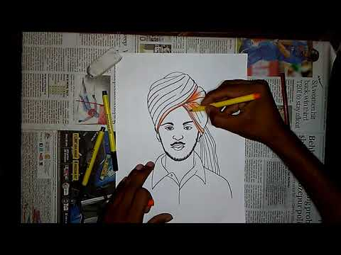How to draw Shahid BHAGAT SINGH to sketch pen ....