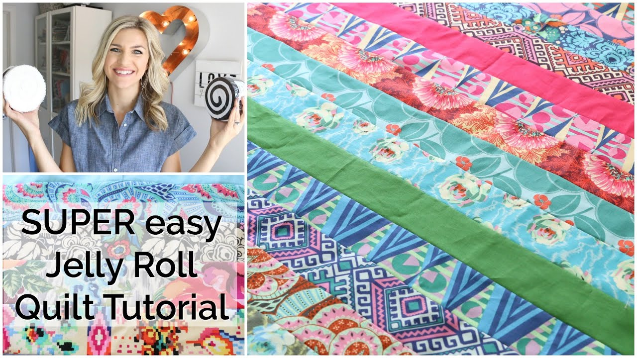 Easy Beginner Quilting Tutorial with a Jelly Roll - YouTube : quilting jelly roll - Adamdwight.com