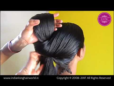 ILHW Rapunzel Heavy oiled Bun making by her Mom to knee length silk