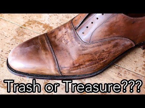 CAN I SAVE THESE SHOES?! Leather Restoration & Shine Tutorial-Crockett & Jones Captoes