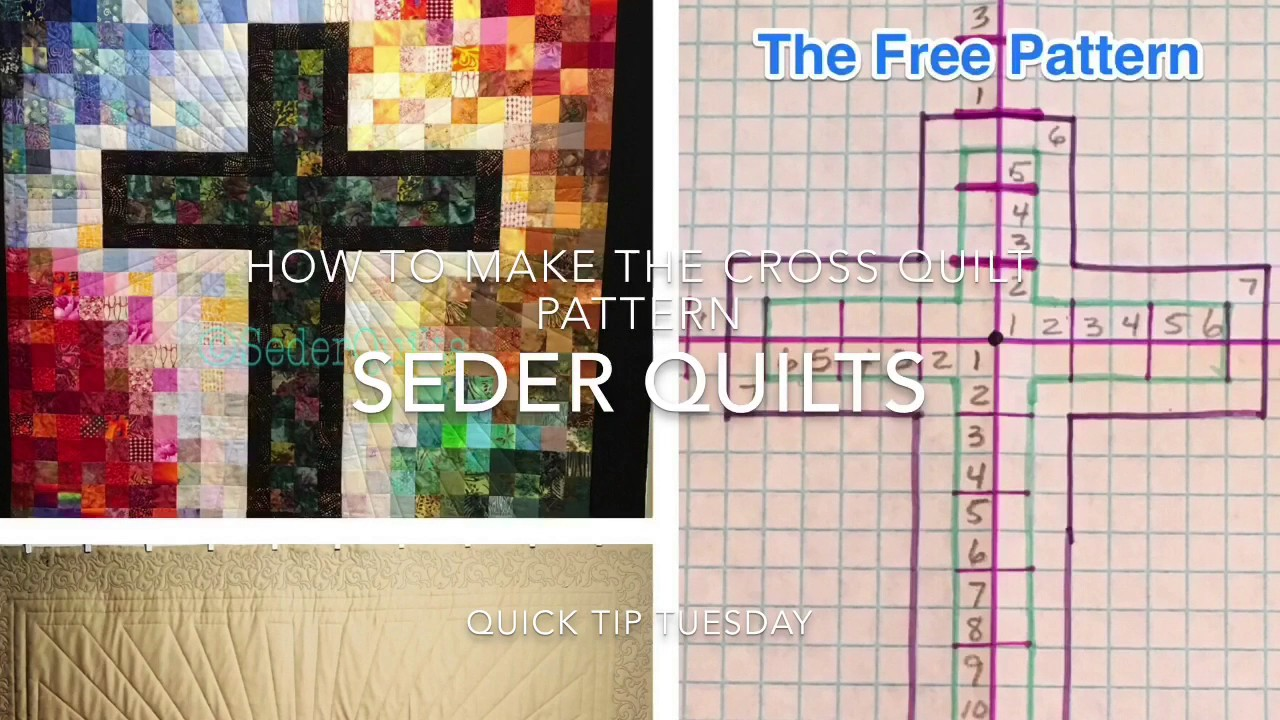 Free Pattern For Cross Of Many Squares Quilt By Sederquilts Youtube