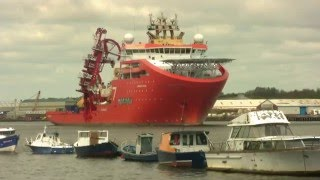 Offshore Vessel Normand Oceanic Leaves the River Tyne 14th May 2016