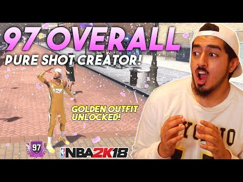 I GOT 97 OVERALL WITH A PURE SHOT CREATOR! GOLDEN OUTFIT REWARD REACTION in NBA2K18!