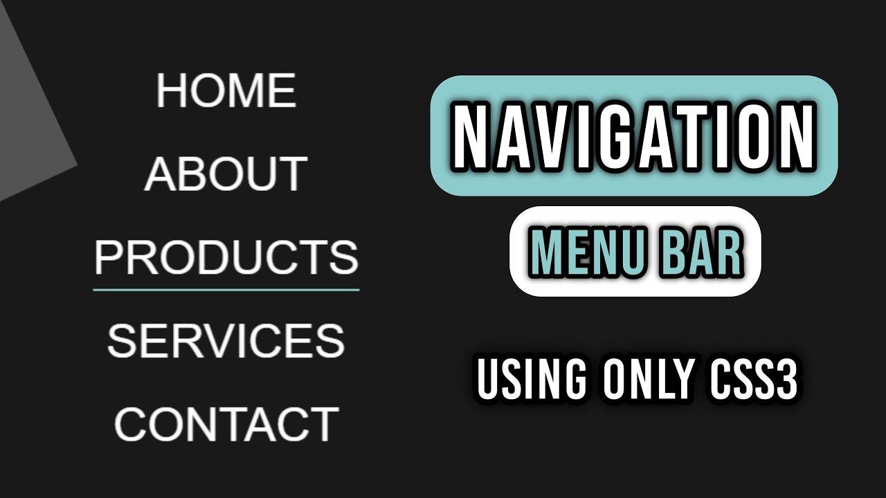 Full Page Navigation Menu Bar Using CSS3