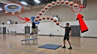 Impossible trampoline basketball trick shots!!!
