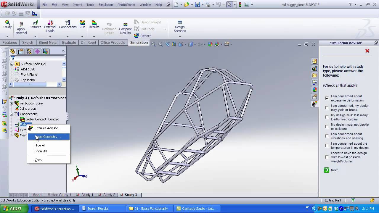 Analyzing a Frame in SolidWorks Simulation - YouTube