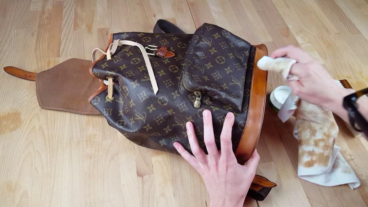 louis vuitton montsouris rucksack tasche reinigen tutorial how to youtube. Black Bedroom Furniture Sets. Home Design Ideas