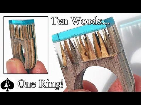 Secret Wood and Resin Ring from 10 Laminated Wood Veneers