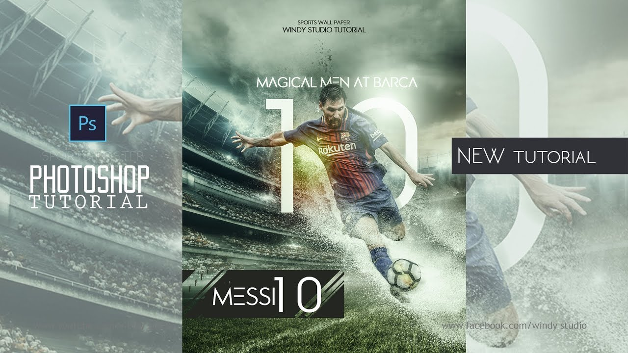 sports wallpaper design l messi poster l photoshop tutorial youtube