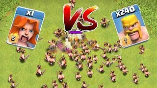 1 MAX VALKYRIE VS 240 MAX BARBARIANS!!! EPIC BATTLE -Glitch?!? (Troll raids) | Clash of clans |