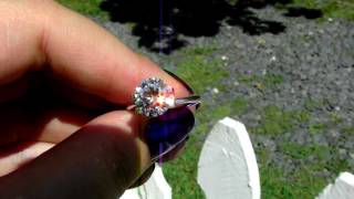 Moissanite loose stone on a clear, sunny day