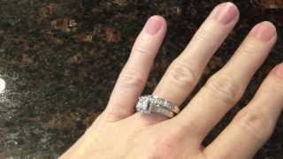 Certified IDEAL Cut Jared Princess Cut Halo Diamond White Gold Engagement Ring Bridal Wedding Set
