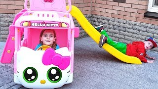 Max and Ulya play with new Hello Kitty Bus and sing a Song