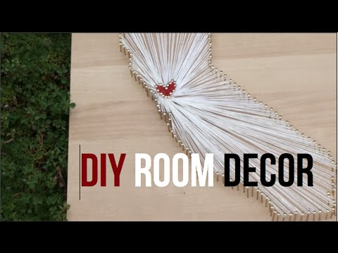 Diy Room Decor String Art State Youtube