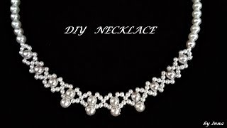 Easy pattern for pearl necklace.  Diy elegant beaded necklace