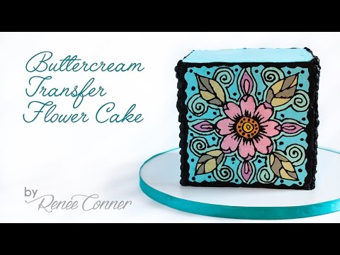 Buttercream Transfer Flower Cake - YouTube