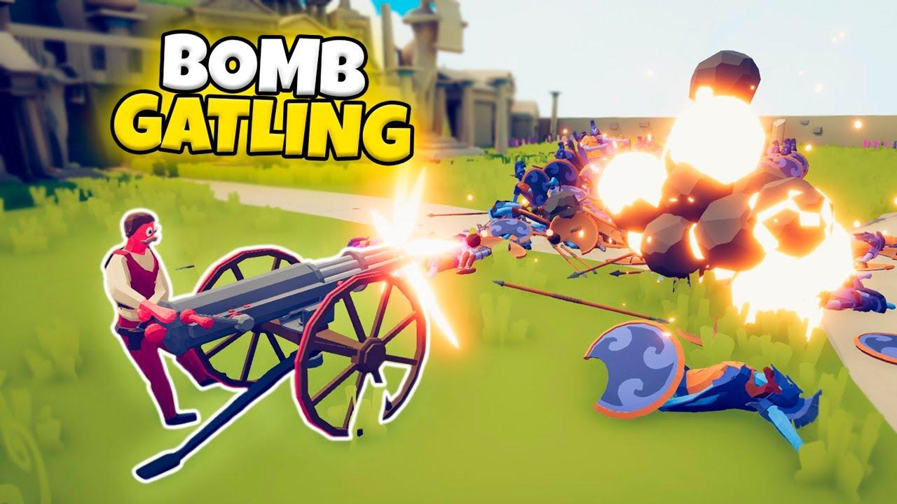 BOMB GATLING GUN VS EVERY FACTION | TABS MODDED GAMEPLAY
