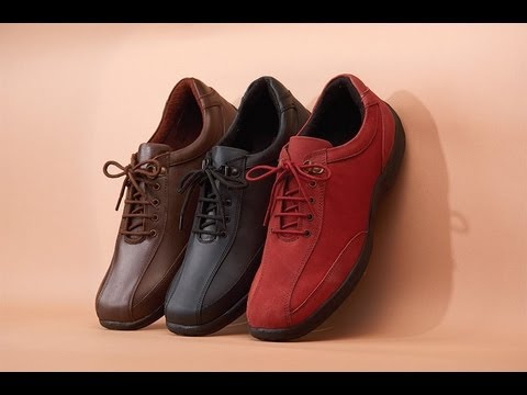 Ladies Leather Walking Shoes - YouTube