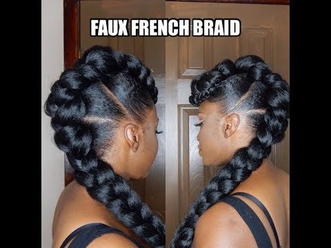 PROTECTIVE STYLE FAUX FRENCH BRAID UPDO