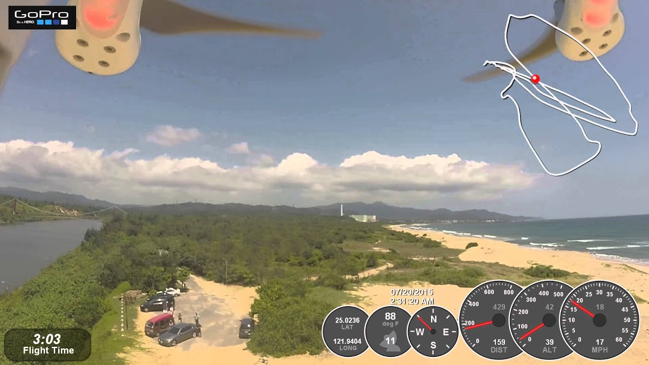 Beach Aerial Footage: Flytrex Core V2 and Dashware Overlay with Dji