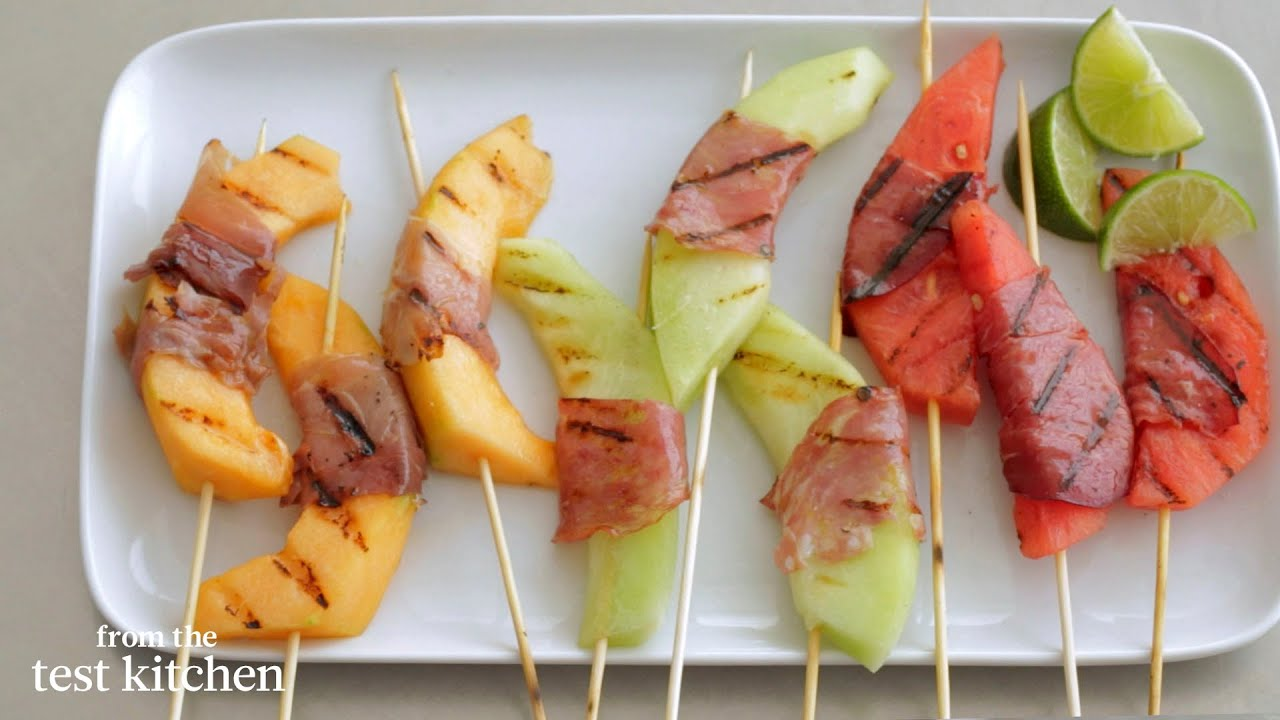 Grilled Melon-Prosciutto Wrapped SkewersFrom the Test Kitchen
