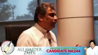 PTI Karachi Leader Ali Zaidi NA244 Ticket Holder