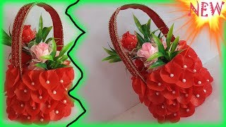 Best out of waste idea using shopping Bag and plastic Bottle || DIY Beautiful Basket ||