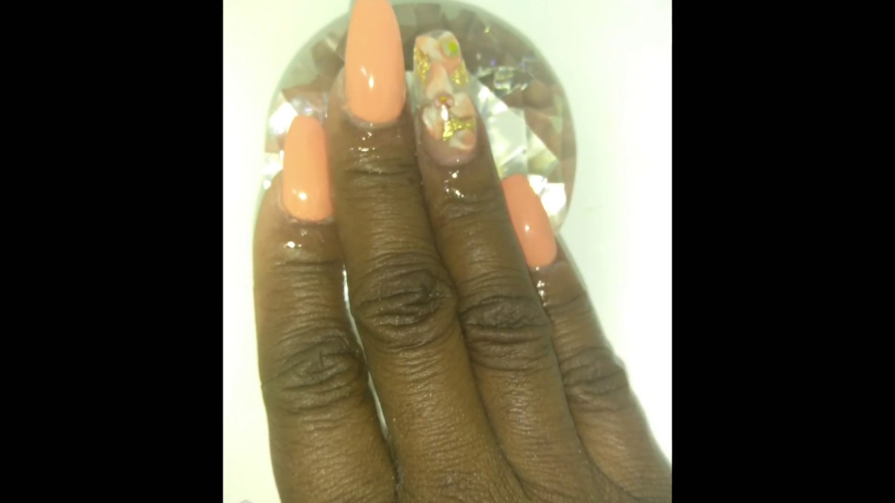 Acrylic Nails featuring Madam GLAM PEACHY gel polish - YouTube