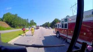 Engine 1 & Rescue 5 Responding to an Accident Involving a Motorcycle [GoPro HD]