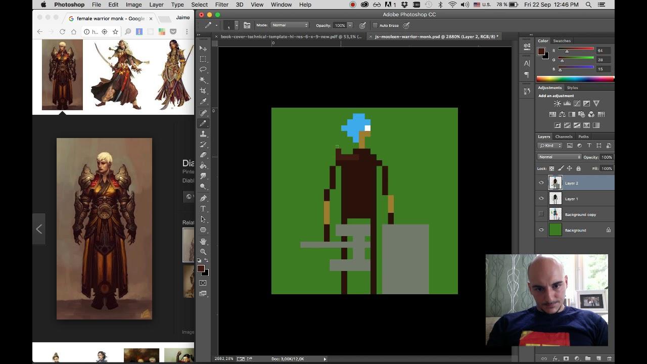 JavaScript-mancy Pixel Art: Mooleen Warrior Monk Take 1