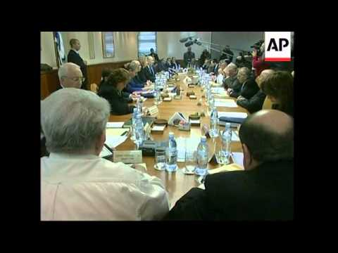 Israeli cabinet meets; Barak, Peres meet French FM