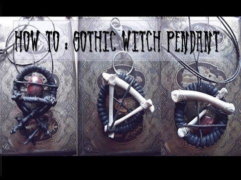 DIY : Gothic Witch Pendant I Crystal and Bones Necklace I Mademoiselle Tineoidea